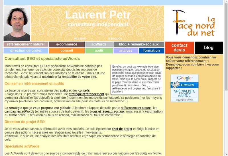 Capture d'écran du site de La Face Nord du.net