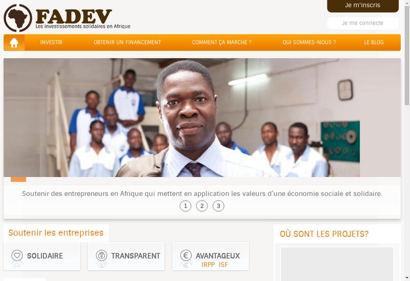 Capture d'écran du site de Fonds Afrique Developpement