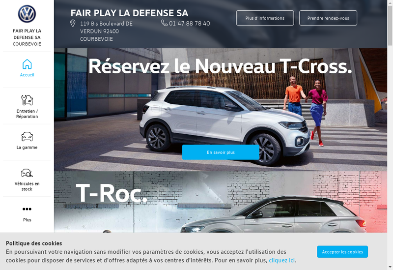 Capture d'écran du site de Fair Play la Defense SA
