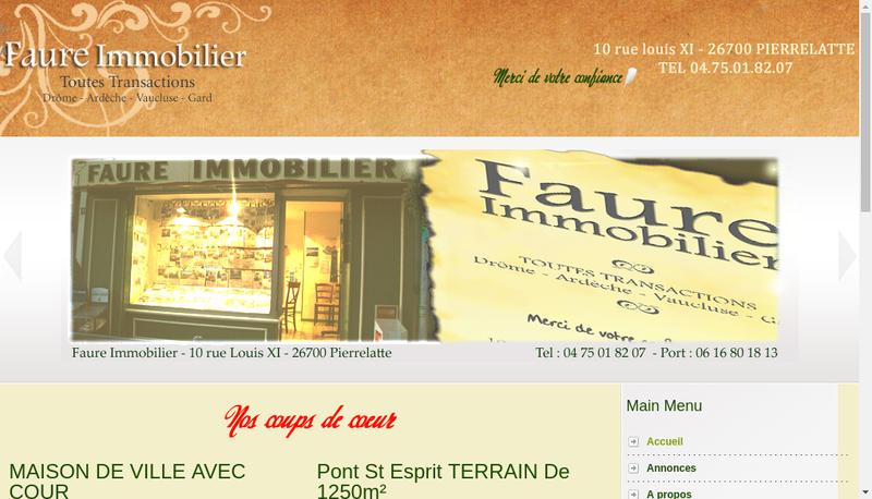 Capture d'écran du site de Faure Immobilier