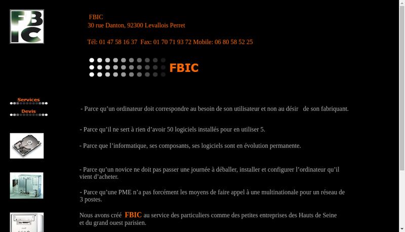 Capture d'écran du site de FBIC