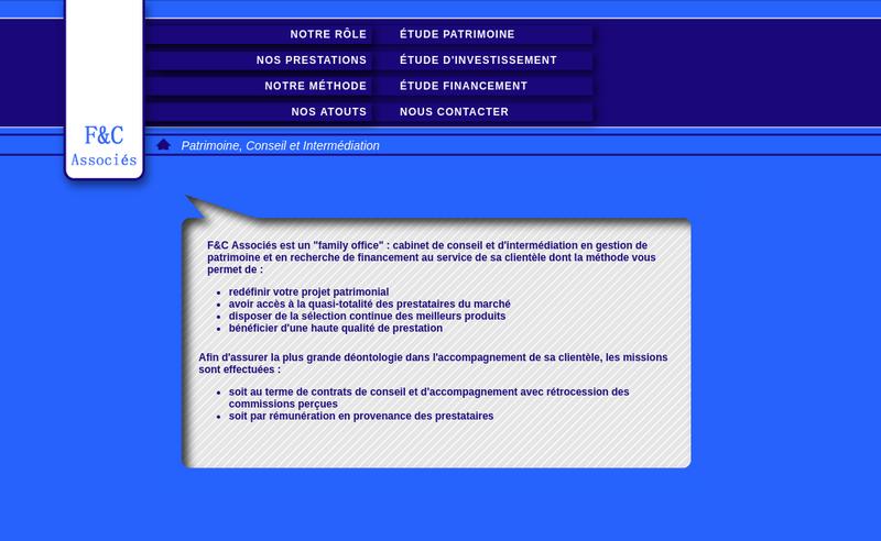 Capture d'écran du site de F&C Associes