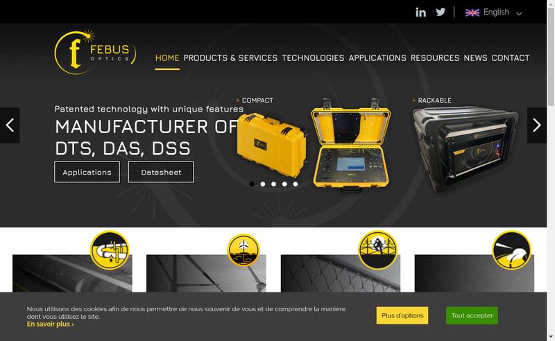 Capture d'écran du site de Febus Optics