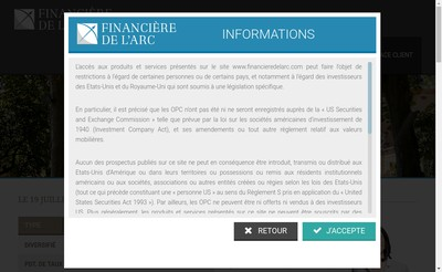 Site internet de Financiere Del'Arc