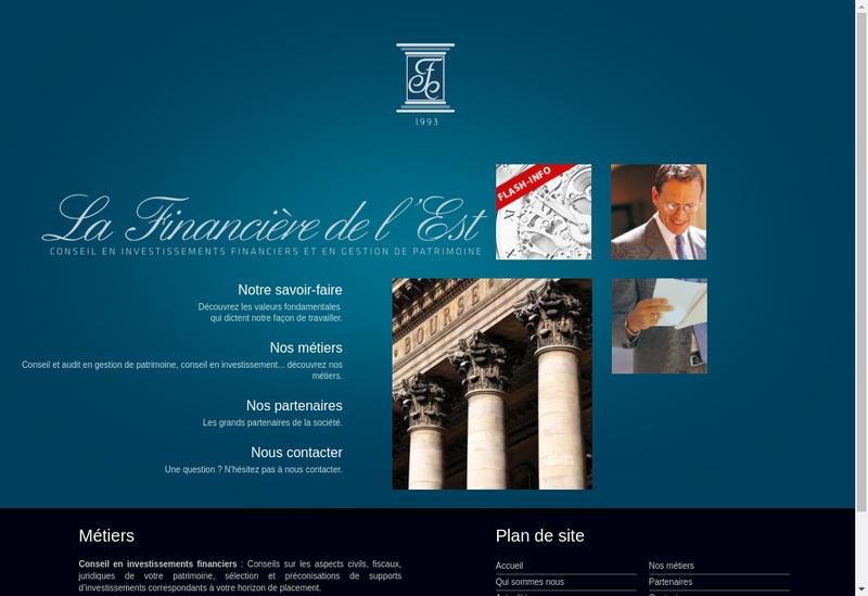 Capture d'écran du site de La Financiere de l'Est SARL