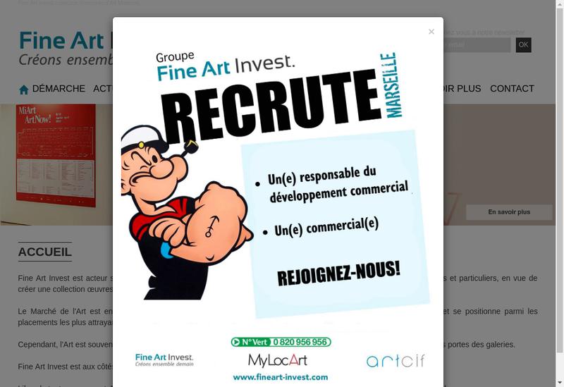 Capture d'écran du site de FINE ART Invest