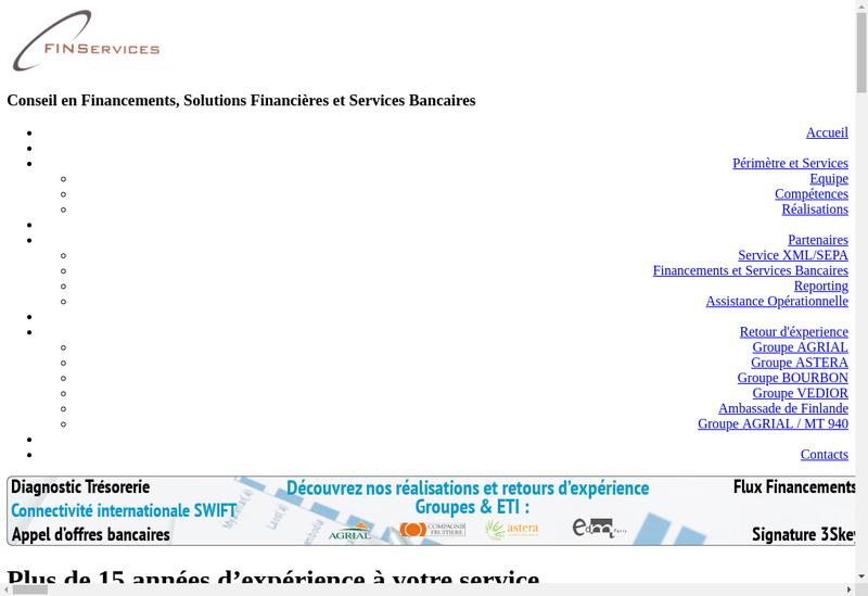 Capture d'écran du site de Finservices