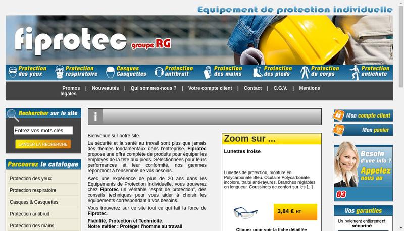 Capture d'écran du site de Fiprotec