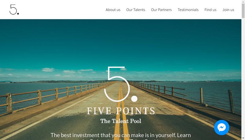 Capture d'écran du site de FivePoints The Talent Pool