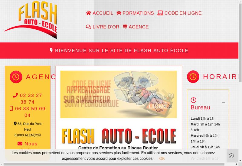 Capture d'écran du site de Flash Auto-Ecole