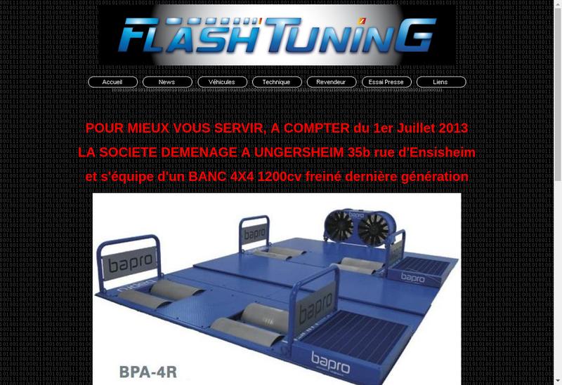 Capture d'écran du site de Flash Tuning