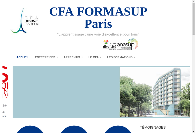 Capture d'écran du site de Formasup Paris