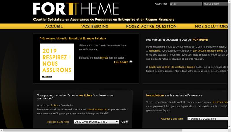 Capture d'écran du site de Fortheme