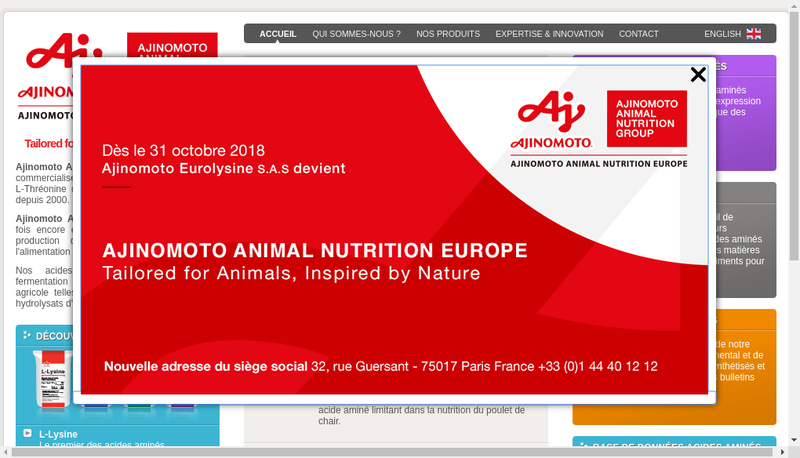 Capture d'écran du site de Ajinomoto Eurolysine Sas