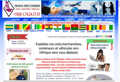 Capture d'écran du site de FRANCE FRET