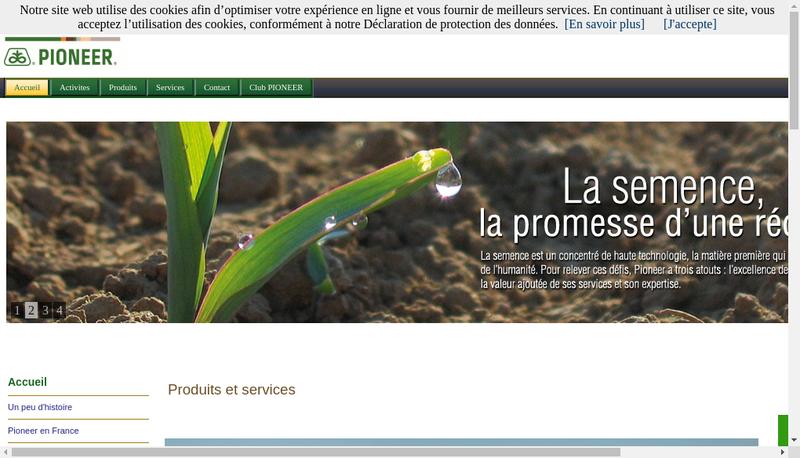 Capture d'écran du site de Pioneer Genetique Sarl