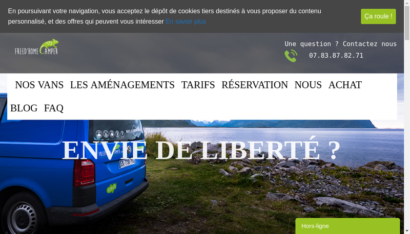 Capture d'écran du site de Freed'Home Camper