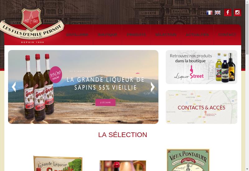 Capture d'écran du site de Distillerie Pontissalienne