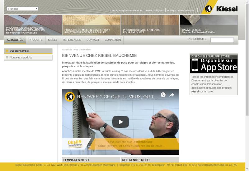 Capture d'écran du site de Kiesel