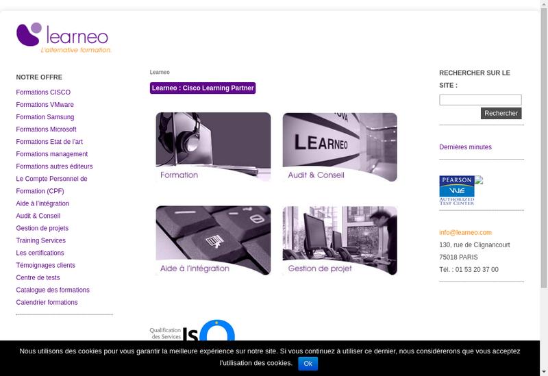 Capture d'écran du site de Learneo