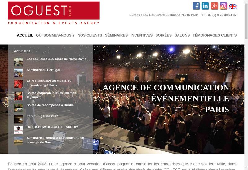 Capture d'écran du site de Oguest Events