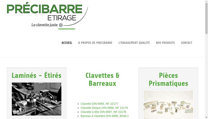 Capture d'écran du site de Precibarre Etirage