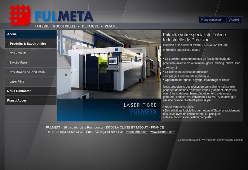 Capture d'écran du site de Fulmeta