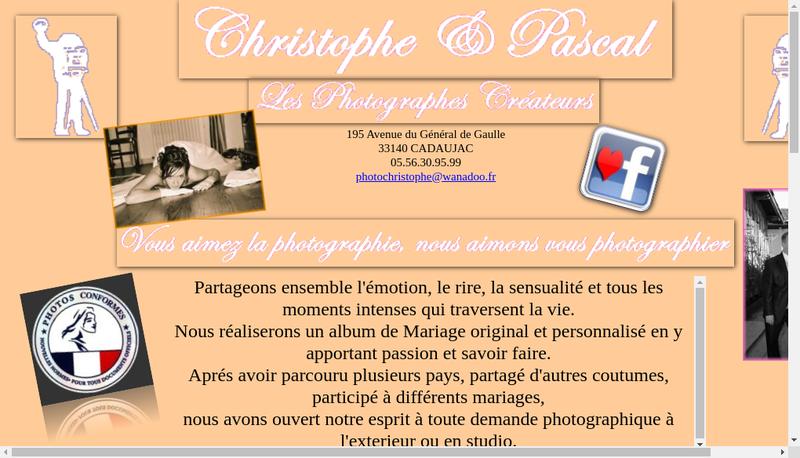 Capture d'écran du site de Photo Christophe