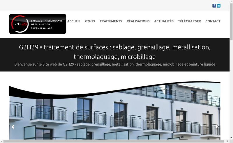 Capture d'écran du site de SARL G2H29