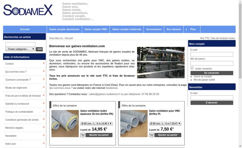 Capture d'écran du site de Sodiamex
