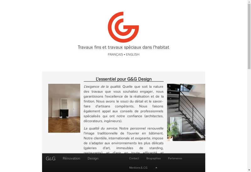 Capture d'écran du site de G&G Design