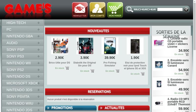 Capture d'écran du site de King Games - Cyber Stores