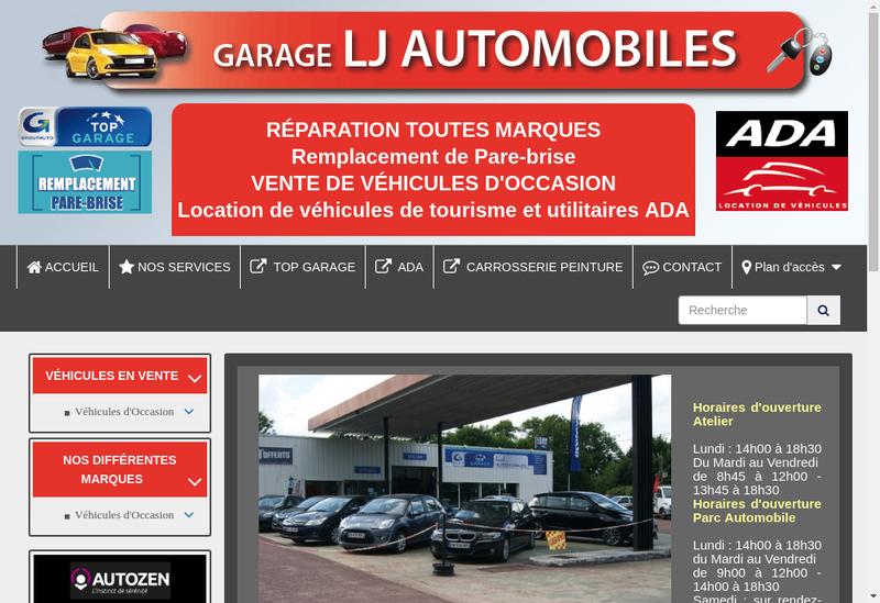 Capture d'écran du site de Lj Automobiles