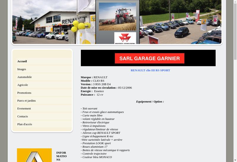 Capture d'écran du site de SARL Garnier