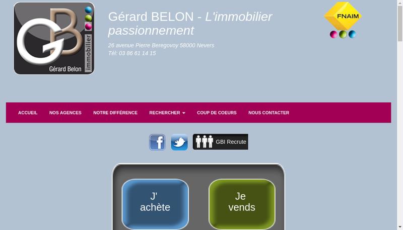 Capture d'écran du site de SA Agence Belon