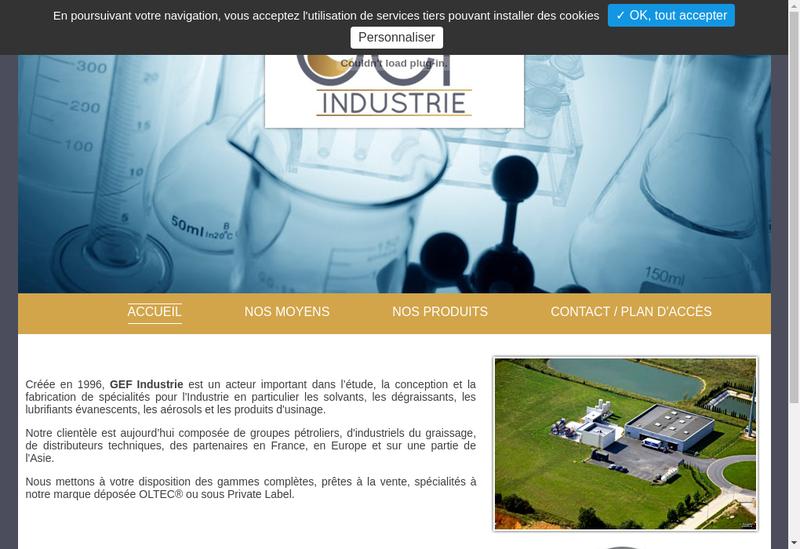 Capture d'écran du site de Gef Industrie