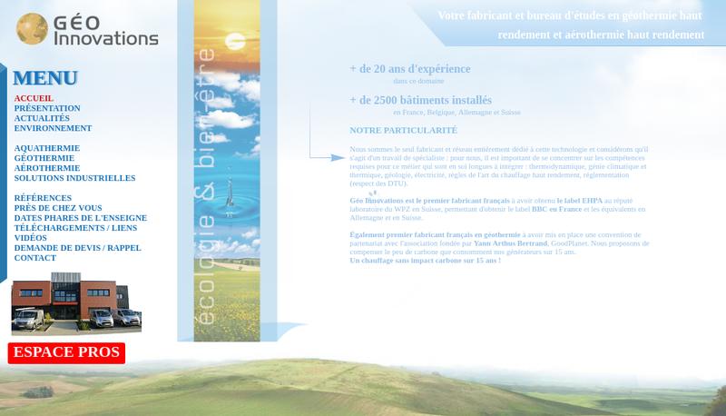 Capture d'écran du site de Geo Innovations