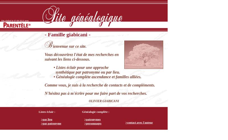Capture d'écran du site de Mathieu Giabicani