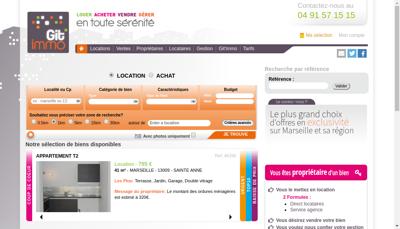 Capture d'écran du site de Git Immo