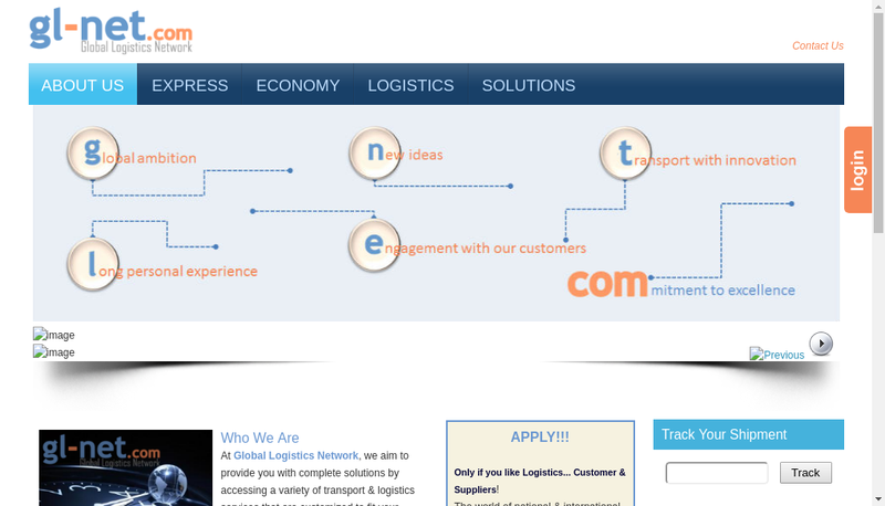 Capture d'écran du site de Global Logistics Network