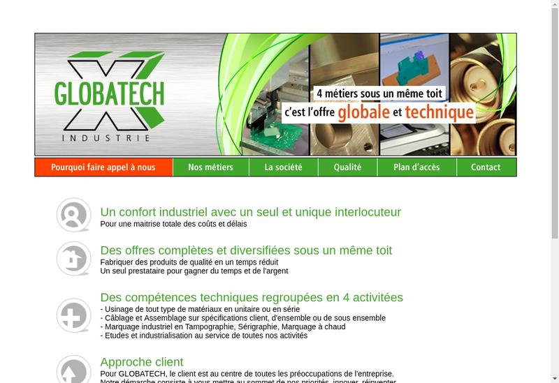 Capture d'écran du site de Globatech Industrie