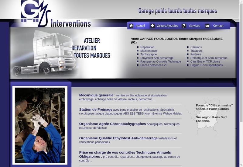 Capture d'écran du site de Gms Interventions