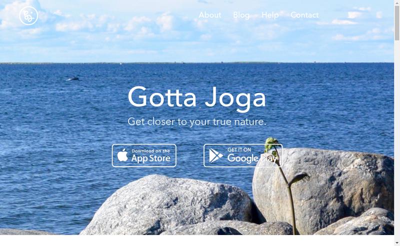 Capture d'écran du site de Gotta Joga