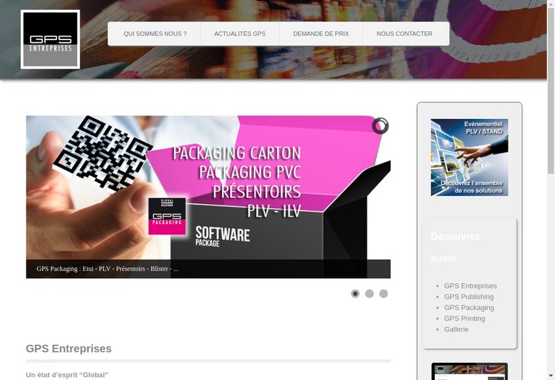 Capture d'écran du site de Gps Entreprises