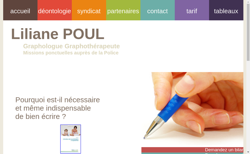 Capture d'écran du site de Liliane Poul