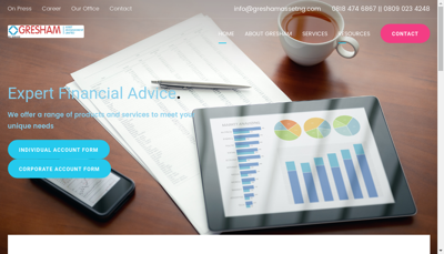 Capture d'écran du site de Gresham Asset Management
