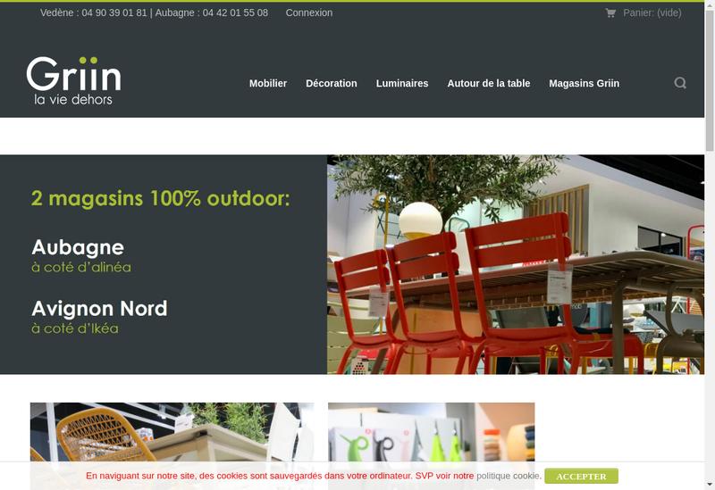 Capture d'écran du site de Griin
