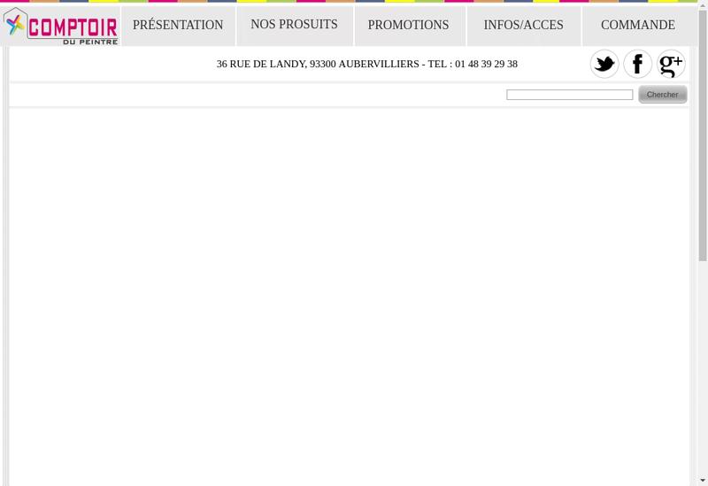 Capture d'écran du site de Comptoir du Peintre