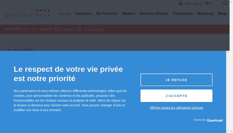 Capture d'écran du site de Groupe Althays