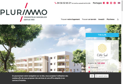 Capture d'écran du site de Plurimmo